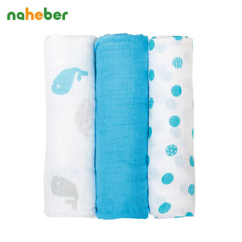 3Pcs Set 70*70cm Muslin Cloth Cotton Baby Swaddles Newborn Baby Blankets Double Layer Gauze Bath Towel Hold Wraps