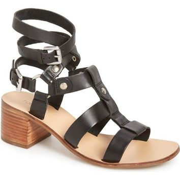 Topshop 'Valley' Gladiator Black Leather Mid Sandals, size 6.5 - 7.5