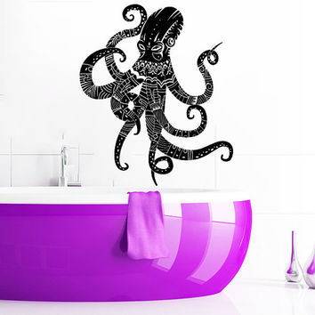 Wall Decal Vinyl Sticker Decals Art Home Decor Design Murals Octopus Tentacles Poulpe Delfish Fish Deep Sea Ocean Bedroom Bathroom AN650