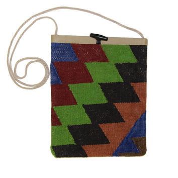 Agatha Green/Red Diamond Pattern Kilim Bag