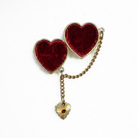 Red Heart Brooch With Velvet and Rhinestone Dangle, Two Hearts Brooch, Heart Jewelry, Velvet Jewelry, Brooch With Dangle, Red Jewelry