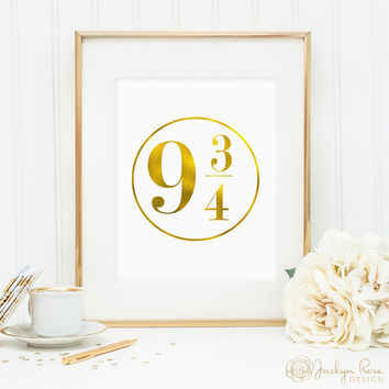 Harry Potter gift, Platform 9 3 4 sign, Harry Potter printable, Platform 9 3/4 printable, Platform faux gold foil printable (digital JPG)