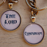 Time Lord And Companion Keychain Set. Doctor Who Inspired Keychain Set.