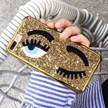 Summer Trending Women Shiny Personality Eyelash Pattern Cellphone Case Protective Shell For iphone 6 6s 6plus 6s-plus 7 7plus iphone 8 iphone X Golden I12713-1