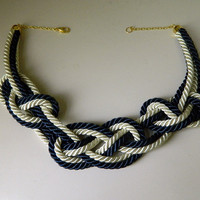 Navy Blue and Ivory Sailor Knot Necklace, fiber/cord necklace, Japanese/chinese knot, for her, anniversary gift for her, bib necklace