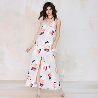 V-neck Spaghetti Strap Floral Maxi Dress with Front Slit