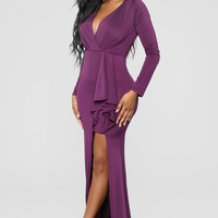 Adams Long Sleeve Dress - Plum