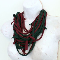 Chunky Scarf Fabric Necklace Forest Green and Maroon Eco Friendly Textile Neckwear