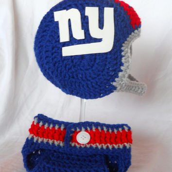 New York Giants Football Inspired Crochet Baby Helmet Hat and Diaper Cover Set - Newborn, 0-3 Month or 3-6 Month Sizes