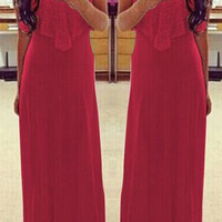 Red Spaghetti Strap Sleeveless Maxi Dress