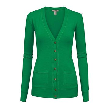 Snappy Green Cardigan with velvet trim