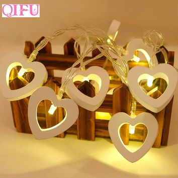 QIFU 10 LED Warm White Wooden Heart Shape String Lights