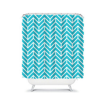 Shower Curtain Herringbone CUSTOM You Choose Colors Turquoise Blue White Chevron Pattern Bathroom Bath Polyester Made in the USA