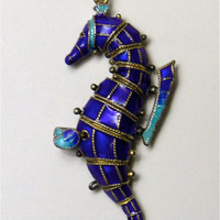 Enamel Seahorse pendant vintage. Chinese export.  Articulated.