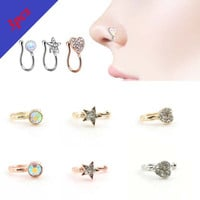 3PCS/Set Amazing 3 Colors 3 Styles Crystal Mrs. Unique Nose Clip Noseclip Fake Nose Ring Faux Piercing Septum Body Jewelry