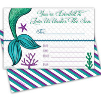 10ct Little Mermaid Birthday Invitations - Purple Under The Sea Party Invitations - Fill In Blank - Envelopes Included
