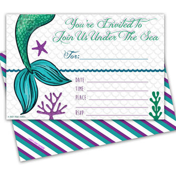 Best under the sea party invitations products on wanelo 10ct little mermaid birthday invitations purple under the sea party invitations fill in blank filmwisefo