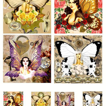 """steampunk pinup girl fairies sheet digital collage sheet printable 3.8"""" x 3.8 and 1.5 inch squares coasters tiles scrapbooking tags cards"""