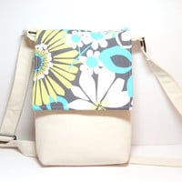 Cross Body Bag - Aqua Yellow Gray - Floral - Hipster Bag - Gadget Bag - Crossbody Purse - Tablet Carry Case