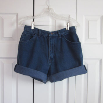 Vintage 80s 90s High Waisted Denim Shorts Gitano Cut Off Jean Shorts, Womens Hipster Mom High Waist Shorts 29, Grunge Indigo Blue GS72