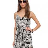 Arbor Leaf Print Spaghetti Strap Shirtwaist Mini Dress