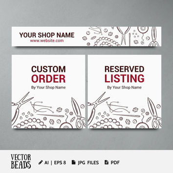 Jewelry Etsy Banner Set. This set includes Shop banner, Custom order & Reserved listing banner - JPG, Ai, EPS, PDF