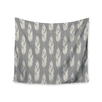 "Amanda Lane ""Feathers Gray Cream"" Grey Pattern Wall Tapestry"
