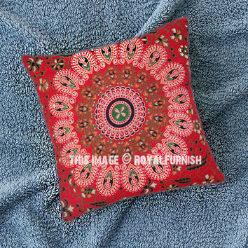 Vibrant Red Mandala Throw Pillow Cover on RoyalFurnish.com