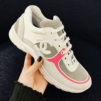 Chanel Women Fashion Leather Sneakers Sport Shoes B-GSXC-LXYZ Pink Edge