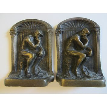 Art Deco Old English Cast Brass Figurative Bookends in Heavy Detailing
