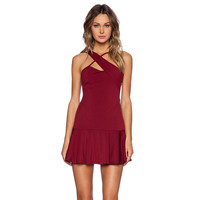 Scarlet Cross Strap Flounced Mini Dress