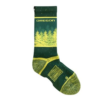 Strideline 2.0 Oregon Tall Firs YOUTH Ducks Dark Green, Yellow Crew Socks