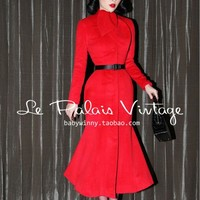 FREE SHIPPING Le Palais Vintage limited edition chinese red retro elegant slim tail long red cashmere coat/70% cashmere overcoat