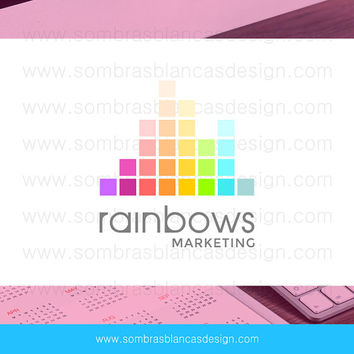 OOAK Premade Logo Design - Rainbow Equalizer - Perfect for a social media manager or a marketing consultant