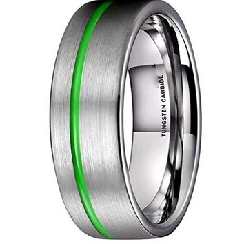 CERTIFIED 8MM Loop Tungsten Carbide Wedding Band Green Grooved Thin Line Ring