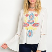 S9-17-2-T1578 WHITE MULTI EMBROIDERY TOP 2-2-2