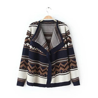 Tribal Print Long-Sleeve Knitted Cardigan