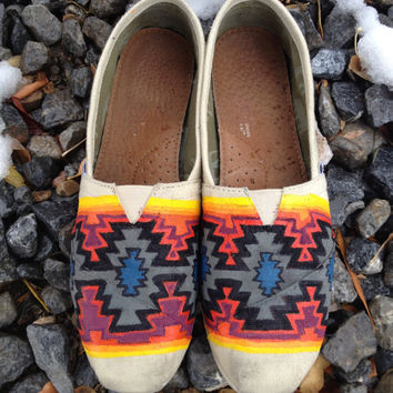Navajo inspired hand painted Tom shoes