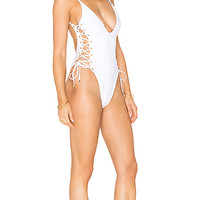 Blue Life Roped Up One Piece in White Jacquard | REVOLVE