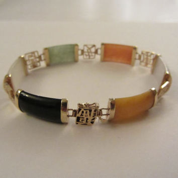 "14k Gold Chinese Multiple-Color Jade and Black Onyx Bracelet - 7 1/8"" x 3/8""- 12.60g"
