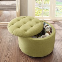 Madison Park Sasha Round Ottoman With Shoe Holder Insert|Designer Living