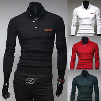 Solid Color Long Sleeve Polo
