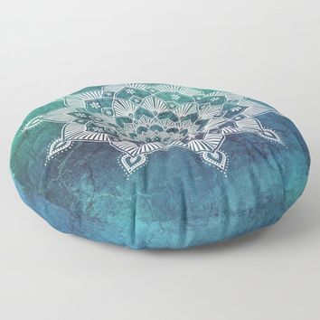 Aqua Spirit Mandala Turquoise Blue Green White Floor Pillow by inspiredimages