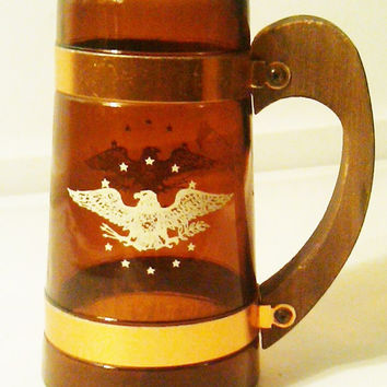 Vintage Siesta Ware \ Amber Glass Mug \ Wood Handle Mug \ Siesta Amber Mug \ Painted Bald Eagle \  Brown Glass Mug \ Amber Glass Stein