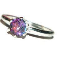 Solitaire Topaz Ring, Purple Stone, Poignant Bliss, Engagement Ring