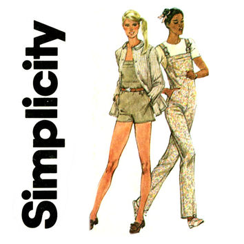 1980s Bib Overalls Pattern Bust 32 UNCUT Simplicity 9912 Playsuit Sunsuit Romper and 49er Style Jacket Womens Vintage Sewing Patterns