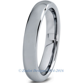 4mm Polished Silver Dome Cut Tungsten