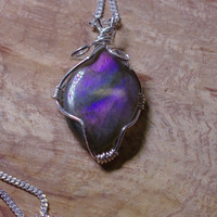 Labradorite Pendant on a Sterling Silver Chain ~ Gray Purple Iridescent Stone ~ Sterling Silver Hand Wired Necklace ~ Canadian Gemstone