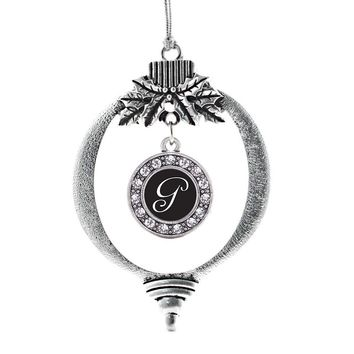 My Script Initials - Letter G Circle Charm Holiday Ornament