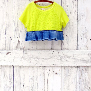 upcycled neon top - cropped yellow bodice - funky lagenlook layering shirt - lace indie fashion - altered boho clothing
